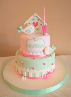 Cake Decorating With Fondant, Birthday Cake Decorating, Baby Birthday Cakes, Birthday Cake Girls, Aaliyah Birthday, Tooth Cake, Bird Cakes, Colorful Cakes, Cute Cakes