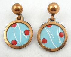 Rebajes Enameled Copper Earrings - Garden Party Collection Vintage Jewelry