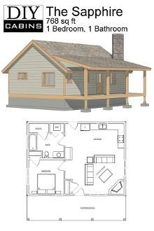 Diy cabins - the sapphire cabin small log cabin plans, tiny home plans, building Tiny House Cabin, Tiny House Living, Tiny House Design, Cabin Homes, Small House Plans, Log Homes, Small Cabin Plans, Cabin Floor Plans, Small Cabins