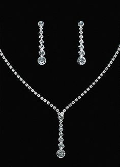 Crystal Y-Necklace with Graduated Crystal Earrings - David's Bridal set for prom3