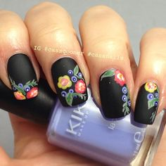 Pretty matte flower nails                                                       …
