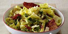 Kale Pesto and Bacon Tagliatelle Kale Pesto, Pasta Recipes, Bacon, Autumn, Vegetables, Fall, Veggie Food, Vegetable Recipes, Veggies