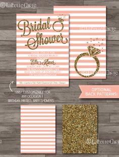 Bridal Shower Invitation Blush Pink & Gold Glitter Modern Typographic Bold Graphic Ring by LaBelleStudio, $10.00