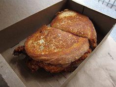Melt Shop Fried Chicken Grilled Cheese  Hot dang! - via Gentrified Chicken