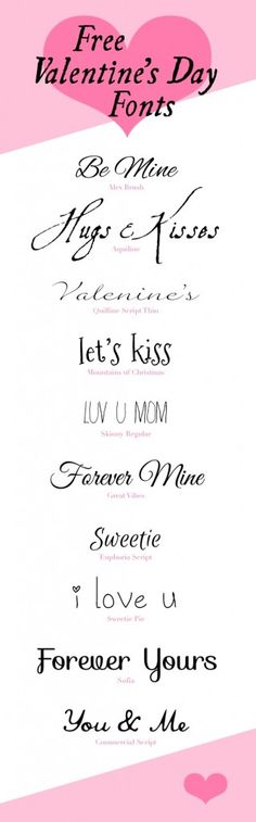 10 FREE VALENTINE'S DAY FONTS These Free Fonts are perfect for all of your Valentine projects and love notes. (They would also go be good for Weddings. Fancy Fonts, Cool Fonts, Pretty Fonts, Type Fonts, Typography Fonts, Hand Lettering, Cursive Fonts, Script, Computer Font
