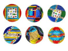 Glass-Mosaic-Lg-Candy-Dishes-w-Silver-Crackle-Painted-Back-Set-of-6-7-D