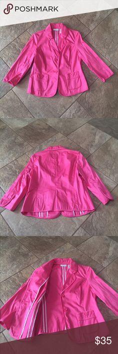 LIZ CLAIBORNE Pink Blazer NWOT!!!Front button closure, no padded shoulders, no inside lining, perfect statement piece for Spring & Summer! Liz Claiborne Jackets & Coats Blazers