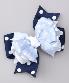 Take a look at this Blue & White Dot Bow Clip on zulily today!