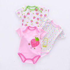 Baby Clothng 3 Pcs/Lot M Baby Romper Summer Strawberry Printed Cotton Kids Pijama Christmas Jumpsuit Baby Girl Clothes Summer Romper, Summer Baby, Summer Kids, Baby Girl Romper, My Baby Girl, Baby Bodysuit, Baby Girls, Onesie, Newborn Outfits