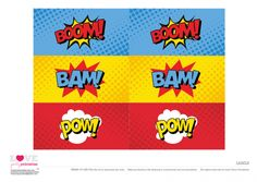 Superhero Party Free Printables   Labels | CatchMyParty.com