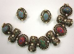 Moroccan Matrix Vintage 1950s Bracelet and Earrings by COBAYLEY, $35.00