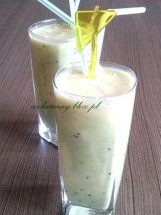 Koktajl mango-kiwi Kiwi, Mango, Glass Of Milk, Smoothies, Pudding, Drinks, Food, Manga, Drinking