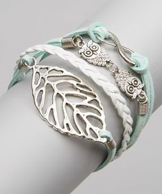 Loving this Silver Leaf & Owl Bracelet on #zulily! #zulilyfinds