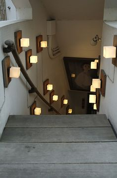i like the lights going down to a basement but that picture makes the basement look haunted as shit basement lighting ideas