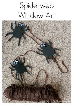 Super easy and fun - make your own Spiderweb Window Art!  A great way to incorporate scissor skills and fine motor practice into a fun art activity.  From Fun at Home with Kids