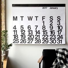 13 Modern Wall Calendars To Get You Organized For 2017 // A large minimal calendar like this one will help you keep track of what day it is at a quick glance.