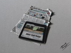 IPad placed on a newspaper - drawing by marcellobarenghi.deviantart.com on @deviantART