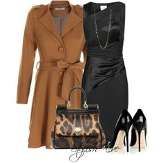 Black and Tan | Dress and Trench Coat | Leopard Print Purse