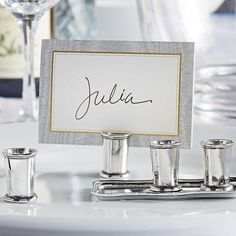 Unique place card holders to seat guests at your wedding reception or special occasion. Wedding Supplies, Wedding Favors, Wedding Reception, Dinner Places, Wedding Accessories, Special Occasion, Place Cards, Place Card Holders, Entertaining