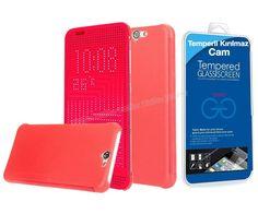 HTC One A9 Dot view Akıllı Kılıf Kırmızı + Temperli Kırılmaz Cam -  - Price : TL33.90. Buy now at http://www.teleplus.com.tr/index.php/htc-one-a9-dot-view-akilli-kilif-kirmizi-temperli-kirilmaz-cam.html