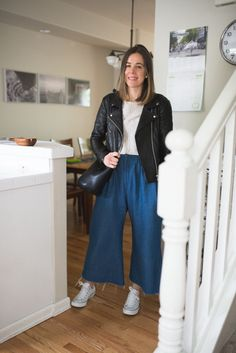7 Days of Outfits: Spanning the Temps - Seasons + Salt, Reformation Leather Jacket, Lauren Winter Wide Pants, Tradlands BCN top
