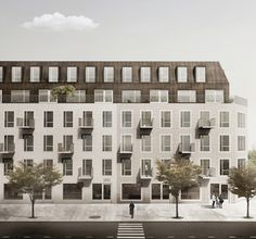 Jägnefält Milton - Rosendal Mixed Use Brick Architecture, Architecture Drawings, Residential Architecture, Landscape Architecture, Roof Design, Facade Design, Exterior Design, Brick Projects, Watercolor Architecture