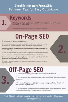 I printed this out and put it on my desk for easy reference. Checklist for WordPress SEO: Beginner Tips for Easy Optimizing