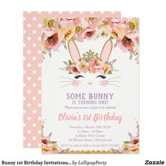 Shop Bunny Baby Shower Invitations Girl Floral Rabbit created by LollipopParty. Personalize it with photos & text or purchase as is! 1st Birthday Invitations Girl, Baby Shower Invites For Girl, Baby Shower Invitations, Bunny Birthday, Girl First Birthday, Disney Birthday, Floral Baby Shower, Bridal Shower, Bunny Party