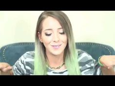 Jenna marbles. Dark blonde light brown to mint pastel green ombré hair. My natural color with green in it XD