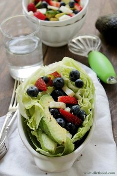 Very Berry Avocado Salad combined to make a healthy and delicious summer treat.  Ingredients  1/4 wedge Iceberg Lettuce, chopped or whole 6 strawberries, sliced 1/2 cup fresh blueberries 1/4 cup fresh mozzarella chunks 1 avocado, sliced For the Dressing 1 lime, juiced 1 tablespoon olive oil 1/8 teaspoon salt fresh ground pepper, to taste