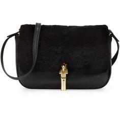 Elizabeth and James Cynnie Nano Shearling Fur Crossbody Bag (930 PLN) ❤ liked on Polyvore featuring bags, handbags, shoulder bags, black, sequin handbags, black purse, black fur handbag, black crossbody and sequin purse