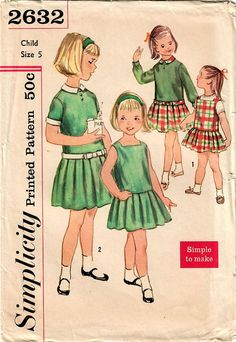 1950s Simplicity 2632 UNCUT Vintage Sewing Pattern Girls Drop