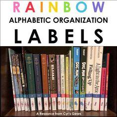 Alphabetic Organization Labels by Cyr's Gears Library Organization, Organizing Labels, Book Spine, Man And Dog, Fifth Grade, Comic Sans, Chapter Books, Teacher Newsletter, Teacher Pay Teachers