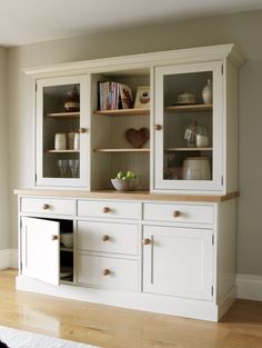 Triple Kitchen Dresser made from Solid Oak. Kitchen Cabinetry Handcrafted by The Bespoke Furniture Company Corner Wine Cabinet, Kitchen Display Cabinet, Kitchen Shelves, Kitchen Storage, Open Shelves, Kitchen Dresser, Kitchen Cabinetry, Kitchen Furniture, Furniture Stores