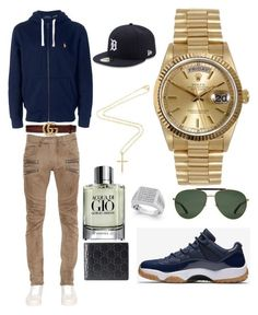 """Casual"" by pitbull8382 on Polyvore featuring Polo Ralph Lauren, Balmain, Gucci, Rolex, Giorgio Armani, Marco Ta Moko and New Era"