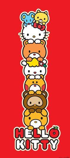 Fotomural Hello Kitty FTV 1530, fotomural de puerta en color rojo, con una torre de la Hello Kitty junto con sus amigos.