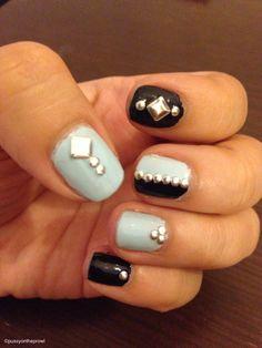 Using metal studs and nail polish