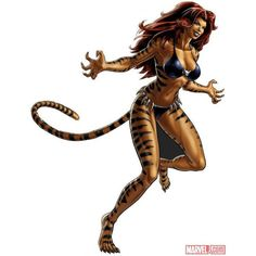 Tigra character model from Marvel Avengers Alliance ❤ liked on Polyvore