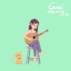 I love the cat here. Hi Gif, Glitter Gif, Good Morning Gif, Beautiful Gif, Cartoon Gifs, Aesthetic Gif, Animation, Gif Pictures, Cute Gif
