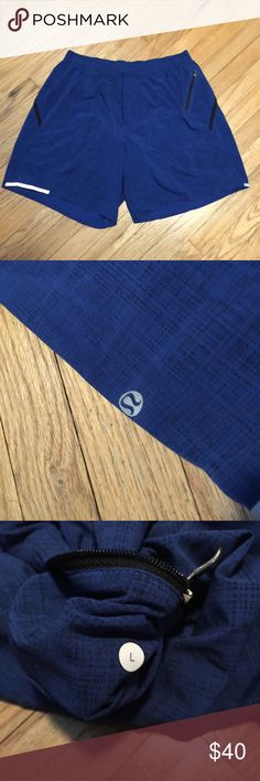 Lululemon mens blue workout gym shorts - Large Lululemon mens blue workout gym shorts - Large. Waist - 15 inches. Length - 16.5 inches. Inseam - 6.5 inches. Excellent condition with liner as well. lululemon athletica Shorts Athletic