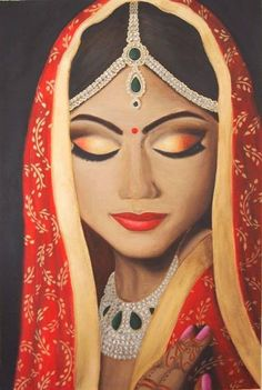 Indian Bride by Chee Foster Indian Women Painting, Indian Art Paintings, Abstract Paintings, Oil Paintings, Arte Shiva, Rajasthani Painting, India Art, Mystique, Elephant Art