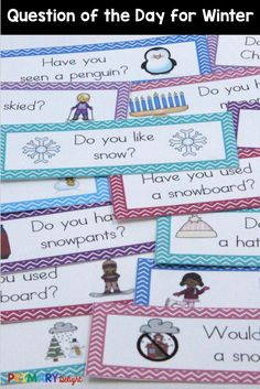 Question of the day for winter! Perfect for preschool, kindergarten and first grade. Use for attendance, morning meeting, graphing and more. Classroom Routines, Preschool Classroom, Classroom Ideas, Preschool Winter, Graphing Activities, Preschool Activities, Time Activities, Winter Activities, Question Of The Day