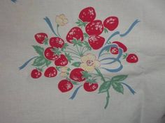 Vintage Tablecloth Cherries Strawberries flowers 50s Cottage PRETTY