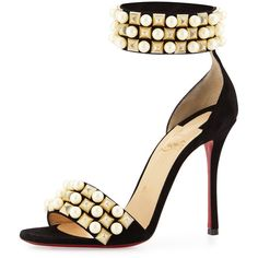 Christian Louboutin Tudor Studded Red Sole d'Orsay Sandal ($1,260) ❤ liked on Polyvore featuring shoes, sandals, black, black leather shoes, ankle cuff sandals, leather shoes, metallic sandals and christian louboutin shoes