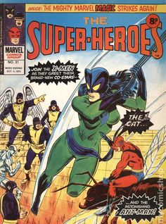 Marvel UK's The Super-Heroes cover art by Keith Pollard Superhero Characters, Comic Book Characters, Comic Character, Comic Books Art, Book Art, Marvel Comics Superheroes, Dc Comics, Classic Comics, Comic Book Covers