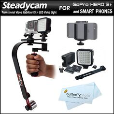 Professional Steadycam Video Camcorder Stabilizer Kit Includes LED Video Light Kit + Video Stabilizer for GoPro, Gopro Hero 3+, Apple iPhone, Smartphones, Cameras Camcorders with Smartphone Holder GoPro Mount + Butterflyphoto Microfiber Cleaning Cloth ButterflyPhoto http://www.amazon.com/dp/B00KTKIUQM/ref=cm_sw_r_pi_dp_-Nmfub003Y0VM