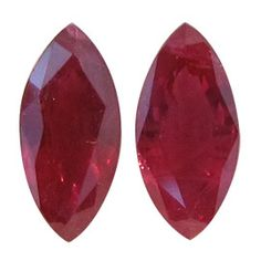 1.18 ct Pair of Marquise Rubies Deep Rich Red -Gold Crane & Co.