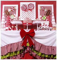Candy Christmas dessert table.... lots of ideas for DIY projects and Christmas party crafts