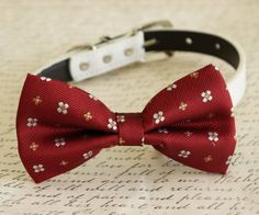 Red Dog Bow tie, Bow attached to dog collar, Valentine's Day gift, Dog birthday…