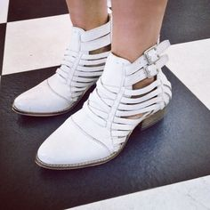 Cassie with the #ShoeCult Wild West Side Leather Bootie in White  || Get the western booties: http://www.nastygal.com/product/shoe-cult-wild-west-side-bootie?utm_source=pinterest&utm_medium=smm&utm_term=ngdib&utm_content=the_cult&utm_campaign=pinterest_nastygal